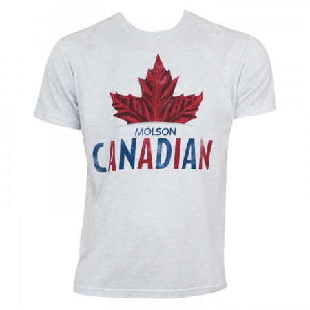 Molson Canadian Men's Grey Leaf Logo T-Shirt
