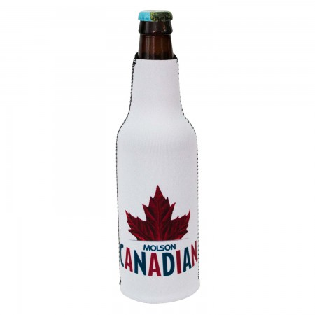 Molson Canadian White Leaf Logo Bottle Insulator