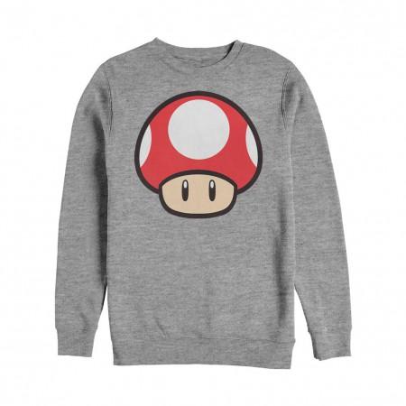 Nintendo Mario Power Up BO Crew Fleece Gray Sweatshirt