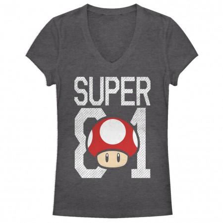 Nintendo Mario Super 81 Mushroom Gray Juniors T-Shirt