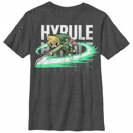 Nintendo Legend of Zelda Hyrule Stack Gray Unisex Youth T-Shirt
