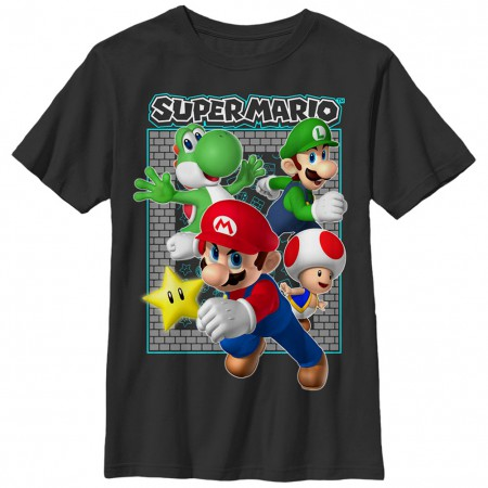 Nintendo Mario Brick Frame Black Unisex Youth T-Shirt