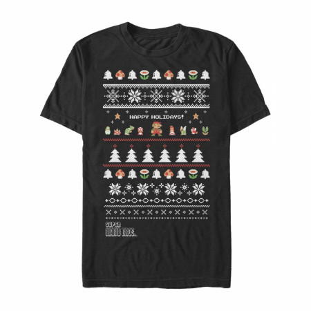 Nintendo Super Mario Bros. Happy Holidays Ugly Sweater Style T-Shirt
