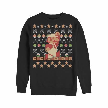 Nintendo Super Mario Holiday Pixels Ugly Christmas Sweatshirt