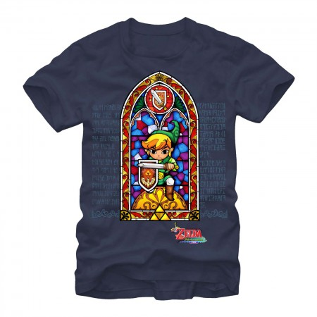 Legend of Zelda Stained Glass Navy Blue T-Shirt