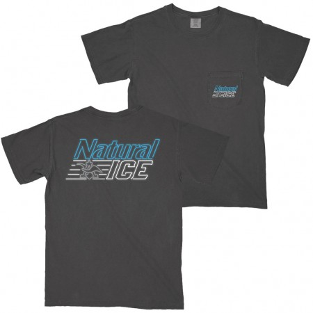 Natural Ice Men's Grey Neon Logo Pocket T-Shirt
