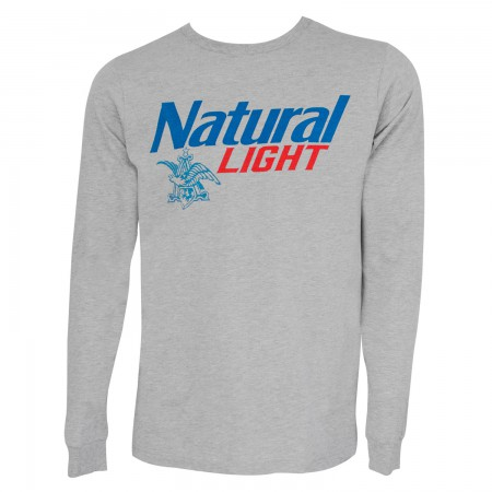 Natural Light Men's Grey Logo Long Sleeve T-Shirt
