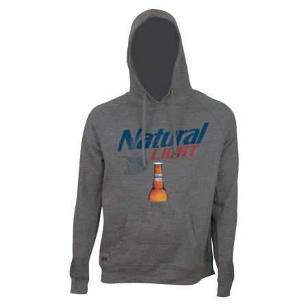 Natural Light Men's Grey Beer Pouch Bottle Opener Hoodie
