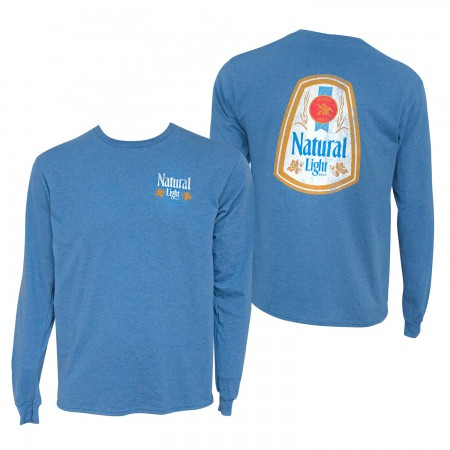 Natural Light Heather Blue Double Sided Print Long Sleeve T-Shirt