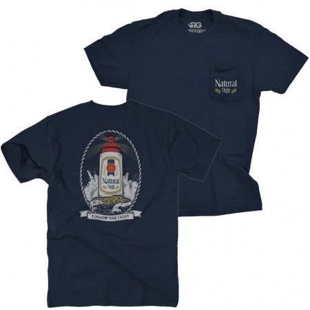 Natural Light Lighthouse Navy Blue Pocket Tshirt