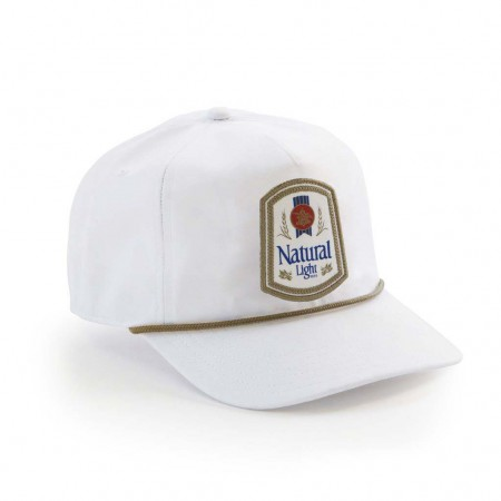 Natty Light Rowdy Gentleman White Retro Logo Snapback Hat