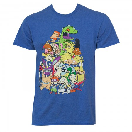 Nicktoons Men's Blue Characters T-Shirt