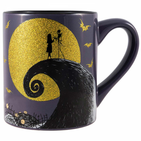 Nightmare Before Christmas Jack Sally Glitter Moon 14oz Coffee Mug