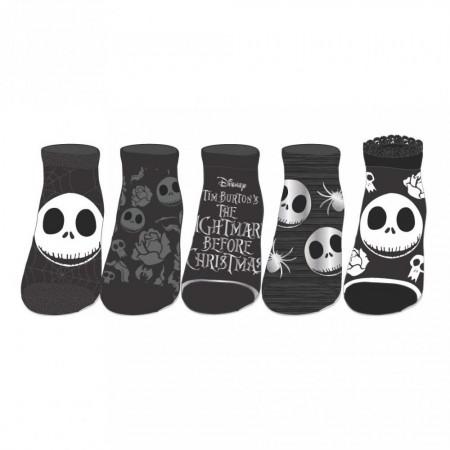 Nightmare Before Christmas 5-Pack Black And Grey Ankle Socks