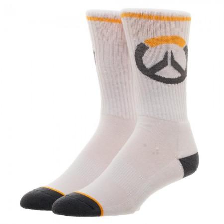 Overwatch Game Logo Men's White Crew Socks