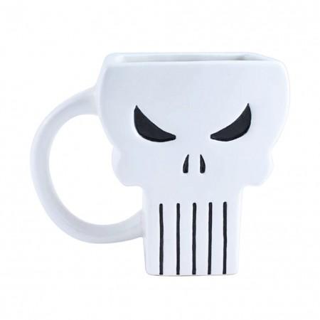 Punisher White Shaped Logo Mug
