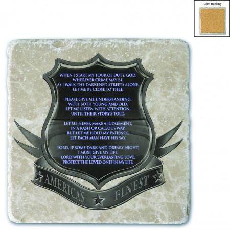 Policeman's Prayer Stone Coaster