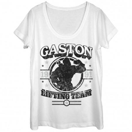 Disney Beauty And The Beast Gaston Gym White Juniors T-Shirt