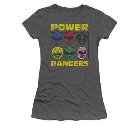 Power Rangers Heads Gray Juniors T-Shirt