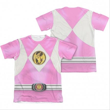 Power Rangers Emblem Costume Pink Sublimation T-Shirt