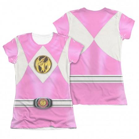 Power Rangers Emblem Costume Pink 2-Sided Sublimation Juniors T-Shirt