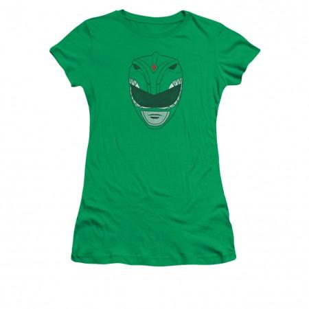 Power Rangers Green Helmet Juniors T-Shirt
