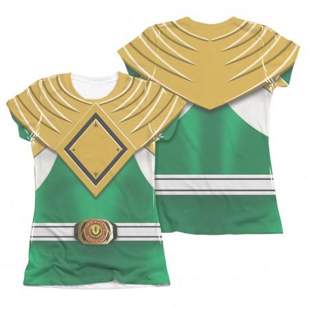 Power Rangers Emblem Costume Green Sublimation Juniors T-Shirt