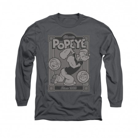Popeye Classic Gray Long Sleeve T-Shirt