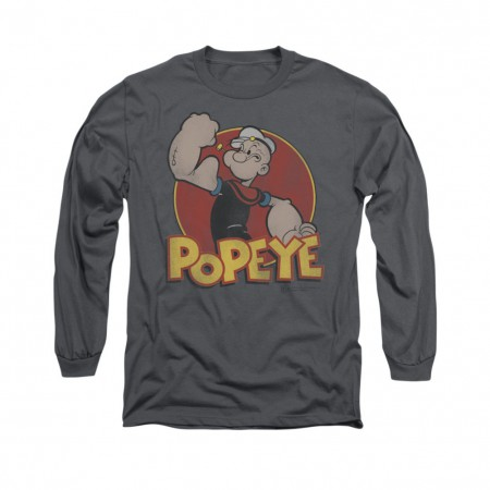 Popeye Retro Ring Gray Long Sleeve T-Shirt