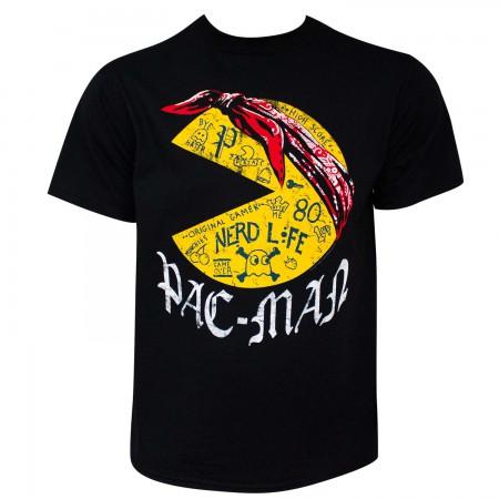 Pac-Man Tattoos Nerd Life Men's Black T-Shirt