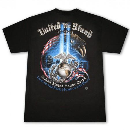 Patriotic USA United We Stand Marine Corps Blac Tee Shirt}