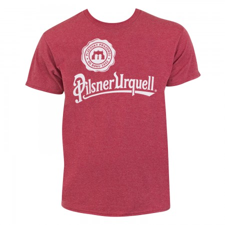 Pilsner Urquell Logo Men's Heather Red T-Shirt