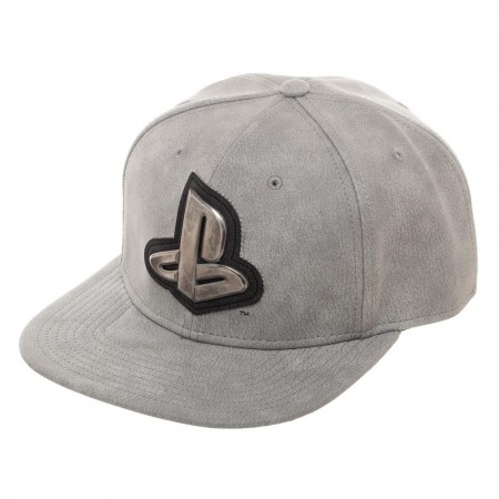 Playstation Metal Logo Distressed Gray Snapback Hat