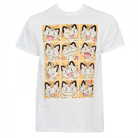 Pokemon Men's White Meowth Squares T-Shirt