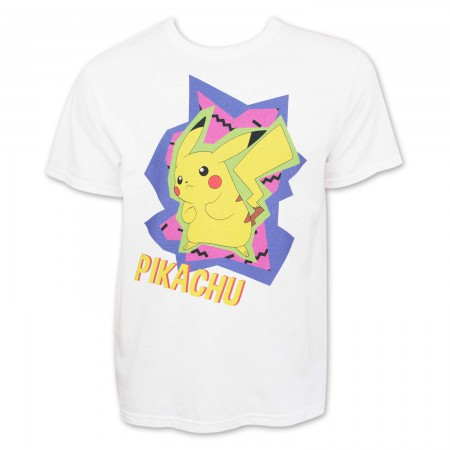 Pokemon Men's White 80's Pikachu T-Shirt
