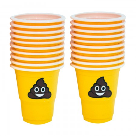 Poop Emoji Plastic Shot Glass Pack