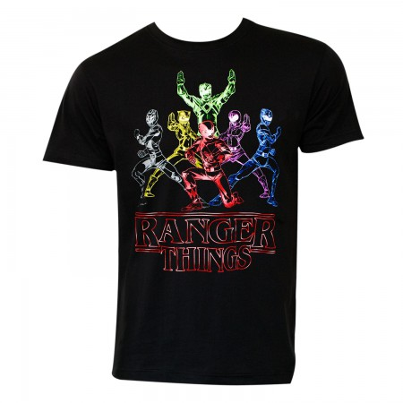 Power Rangers Men's Black Ranger Things T-Shirt
