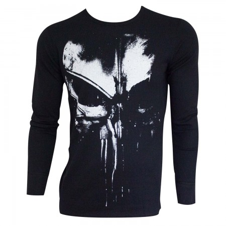 The Punisher Men's Black Distressed Logo Long Sleeve Thermal Shirt