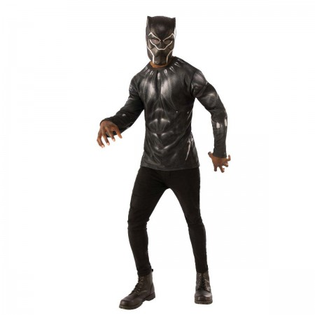 Black Panther Halloween Costume Men's Shirt Mask Set