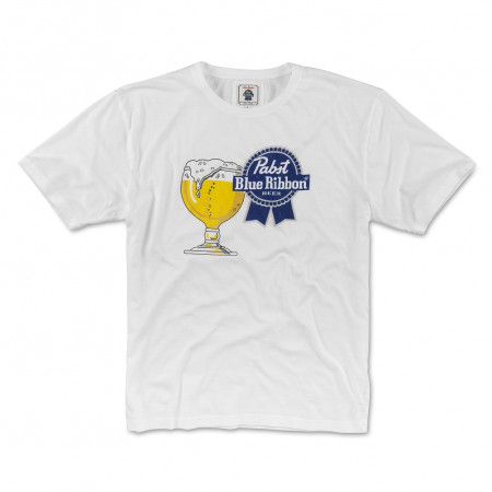 Pabst Blue Ribbon Beer Men's Glass White T-Shirt