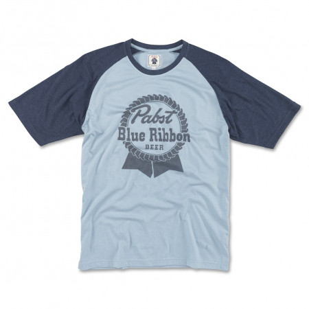 Pabst Blue Ribbon Beer Blue Logo Men's Raglan T-Shirt
