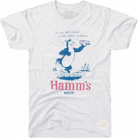 Retro Brand Hamm's Beer Land of Blue Waters Bear Men's Grey T-Shirt