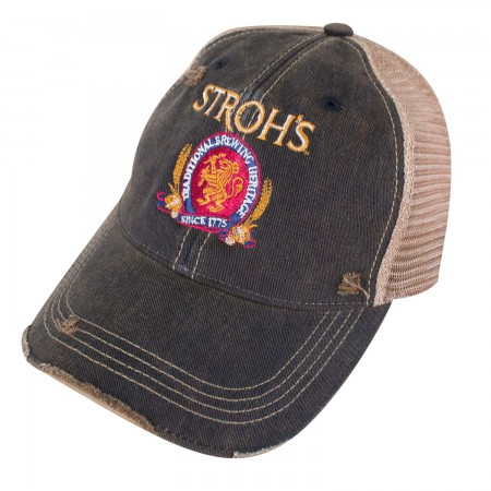 Stroh's Beer Logo Retro Brand Brown Mesh Hat