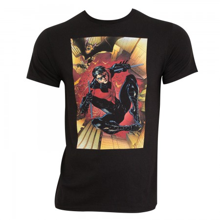 Nightwing Men's Black Comic Panel T-Shirt
