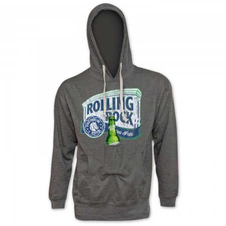 Rolling Rock Bottle Opener Men's Grey Beer Pouch Hoodie