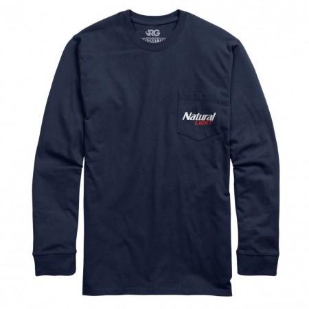 Natural Light Natty History Rowdy Gentleman Long Sleeve Navy Blue Tee Shirt