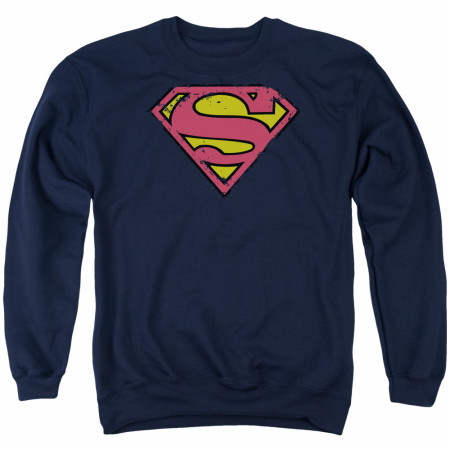 Superman Logo Men's Blue Crewneck Sweatshirt