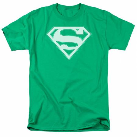 Superman White Logo Green T-Shirt