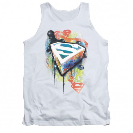 Superman Urban Shields White Mens Tank Top