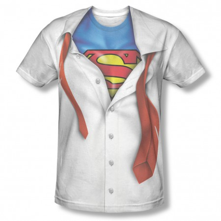 Superman Button-Down Costume Sublimation White T-Shirt